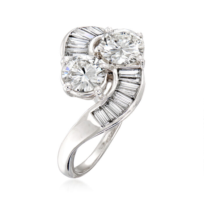 C. 2000 Vintage 1.96 ct. t.w. Diamond Bypass Ring in Platinum
