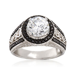 2.20 ct. t.w. CZ and .80 ct. t.w. Black Spinel Ring in Sterling Silver, , default