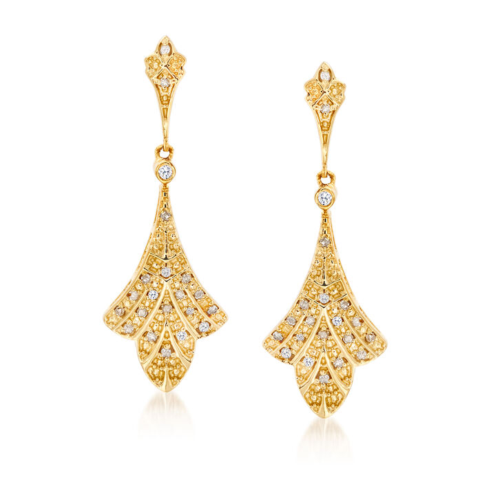 .10 ct. t.w. Diamond Floral Drop Earrings in 18kt Gold Over Sterling, , default