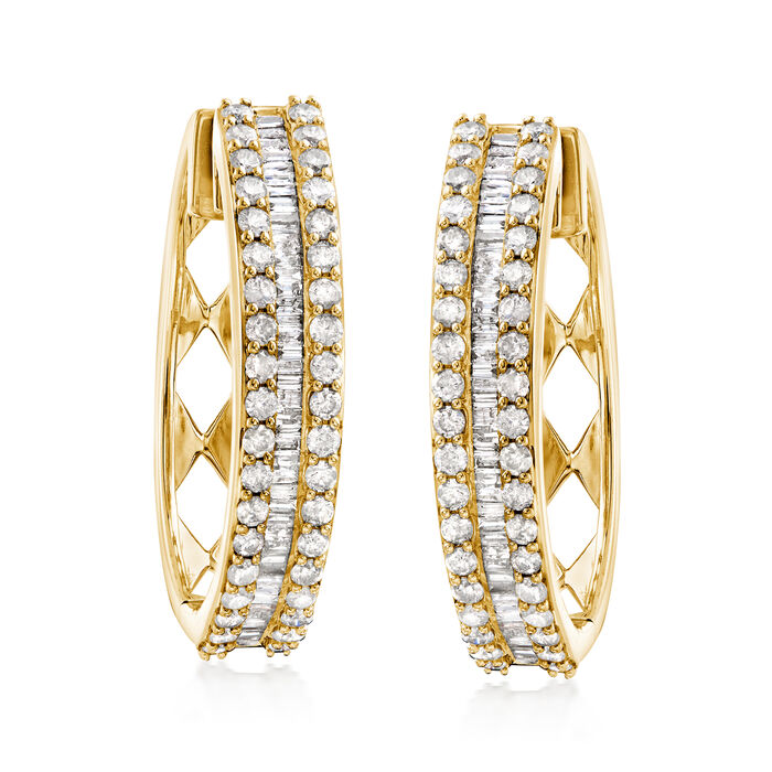 3.00 ct. t.w. Baguette and Round Diamond Hoop Earrings in 18kt Gold Over Sterling