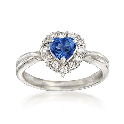 C. 2000 Vintage .87 Carat Sapphire and .36 ct. t.w. Diamond Heart Ring in Platinum, , default