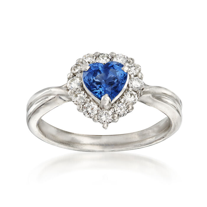 C. 2000 Vintage .87 Carat Sapphire and .36 ct. t.w. Diamond Heart Ring in Platinum. Size 6, , default