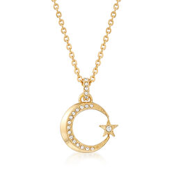 "Swarovski Crystal ""Crescent and Star"" Crystal Necklace in Gold-Plated Metal, , default"