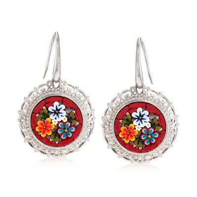 Italian Floral Mosaic Murano Glass Drop Earrings in Sterling Silver, , default