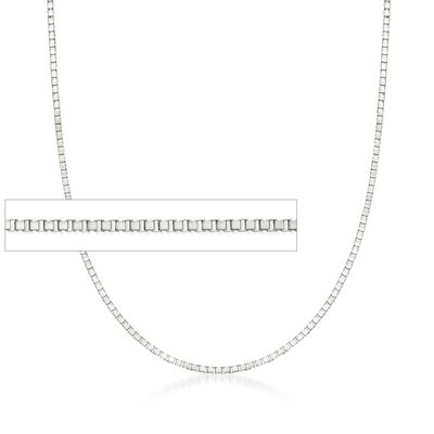 .8mm 14kt White Gold Box Chain Necklace, , default