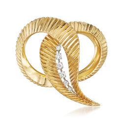 C. 1970 Vintage 18kt Yellow Gold Ridged Swirl Pin With .30 ct. t.w. Diamond, , default