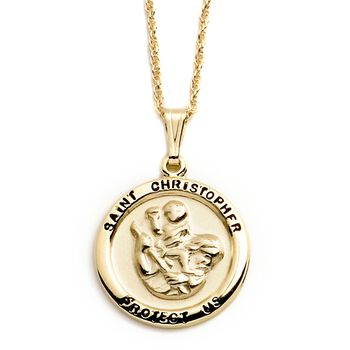 "14kt Yellow Gold Saint Christopher Medal Pendant Necklace. 18"", , default"