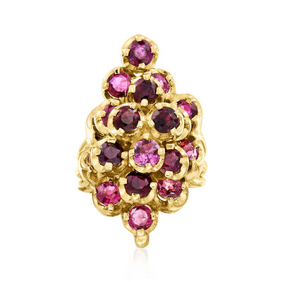 C. 1970 Vintage 4.75 ct. t.w. Garnet Cluster Ring in 14kt Yellow Gold