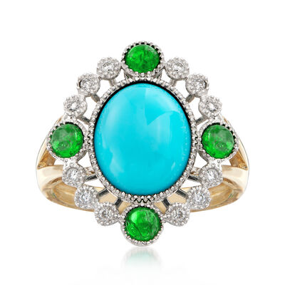Stabilized Turquoise and .64 ct. t.w. Multi-Stone Ring in 14kt Two-Tone Gold, , default