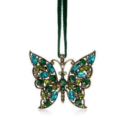 Joanna Buchanan Green Crystal Butterfly Ornament, , default