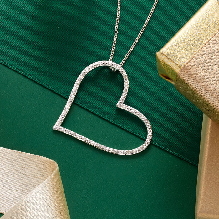 .10 ct. t.w. Diamond Heart Pendant Necklace in Sterling Silver
