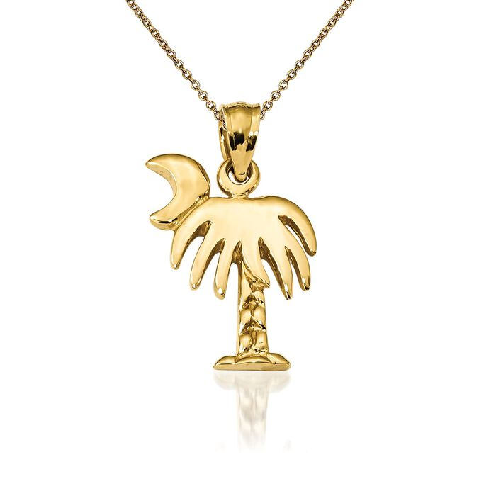 14kt Yellow Gold Palmetto Pendant Necklace. 18""