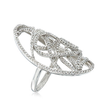 C. 2000 Vintage .75 ct. t.w. Diamond Openwork Ring in 10kt White Gold. Size 8
