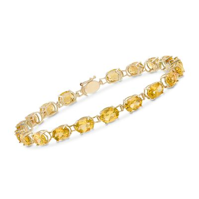 13.00 ct. t.w. Oval Citrine Bracelet in 14kt Yellow Gold, , default