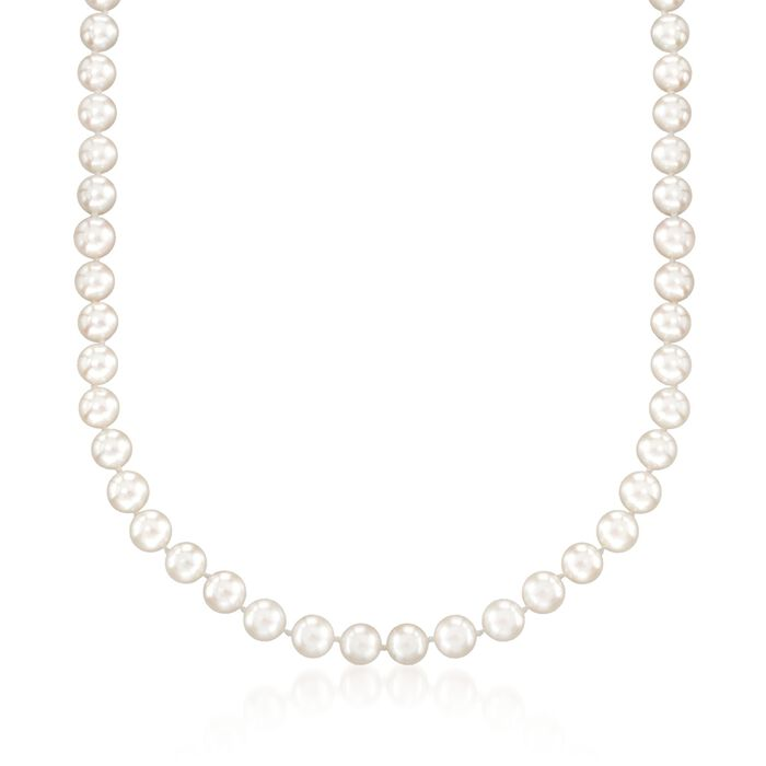 6.5-7mm Cultured Akoya Pearl Necklace with 18kt White Gold