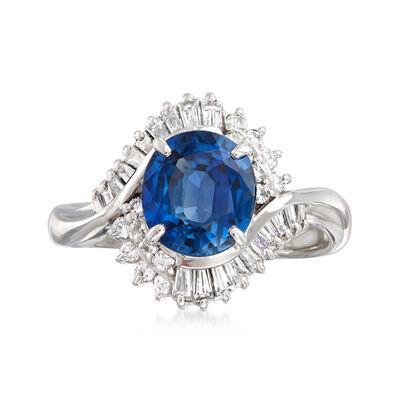 C. 2000 Vintage 2.11 Carat Sapphire and .56 ct. t.w. Diamond Ring in Platinum