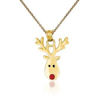 """14kt Yellow Gold Reindeer Pendant Necklace. 18"""", , default"""
