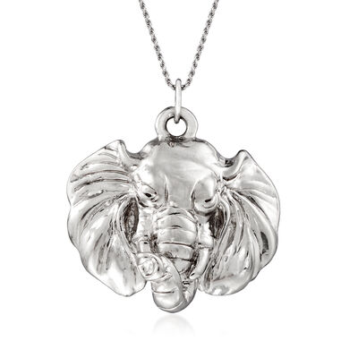Italian Sterling Silver Elephant Head Pendant Necklace