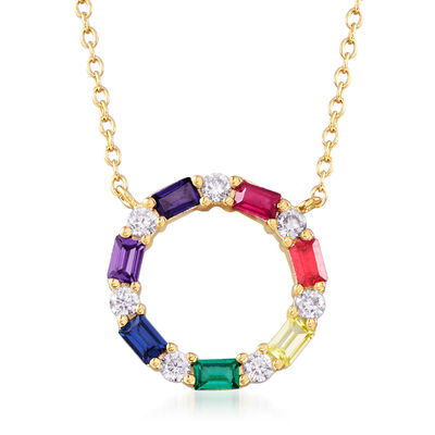 Multicolored CZ Open Circle Necklace in 18kt Yellow Gold Over Sterling Silver, , default