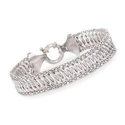 Italian Sterling Silver Multi-Chain Link Bracelet, , default