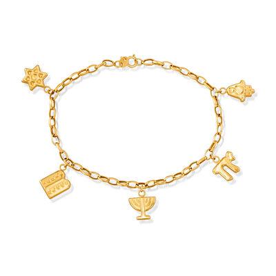 Italian 14kt Yellow Gold Symbols of Judaism Charm Bracelet