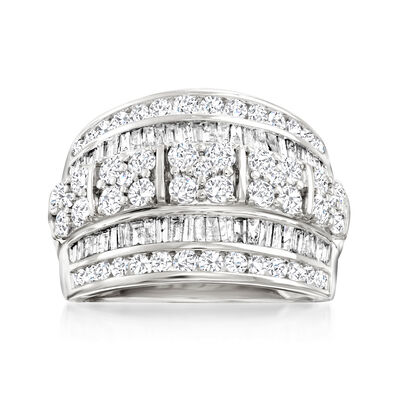 2.00 ct. t.w. Round and Baguette Diamond Multi-Row Ring in 14kt White Gold