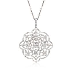 "2.38 ct. t.w. Diamond Floral Pendant Necklace in 18kt White Gold. 16"", , default"