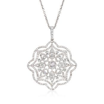"2.38 ct. t.w. Diamond Floral Pendant Necklace in 18kt White Gold. 16"", , default"