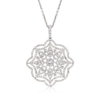 2.38 ct. t.w. Diamond Floral Pendant Necklace in 18kt White Gold, , default