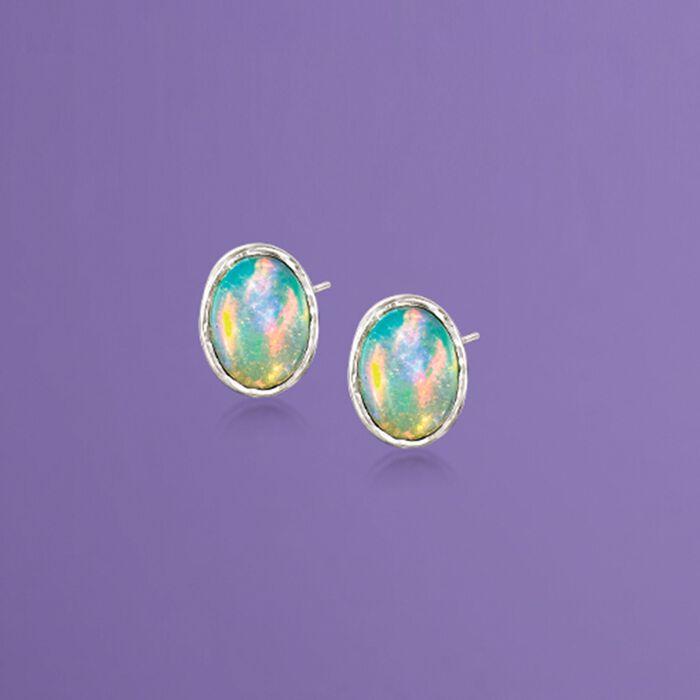Bezel-Set Opal Stud Earrings in Sterling Silver
