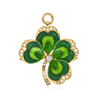 C. 1930 Vintage Seed Pearl and Green Enamel Shamrock Pin/Pendant with Diamond Accent in 14kt Yellow Gold