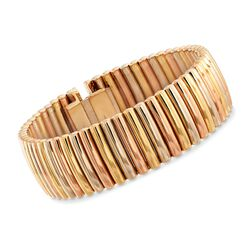 "C. 1940 Vintage 14kt Tri-Colored Gold Ribbed Bracelet. 6.5"", , default"
