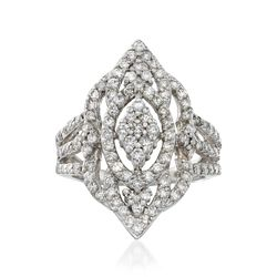 C. 1990 Vintage 1.00 ct. t.w. Diamond Navette Ring in 14kt White Gold, , default