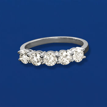 1.50 ct. t.w. Diamond Five-Stone Ring in 14kt White Gold, , default