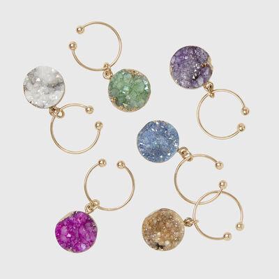 Joanna Buchanan Set of 6 Colorful Druzy Wine Charms