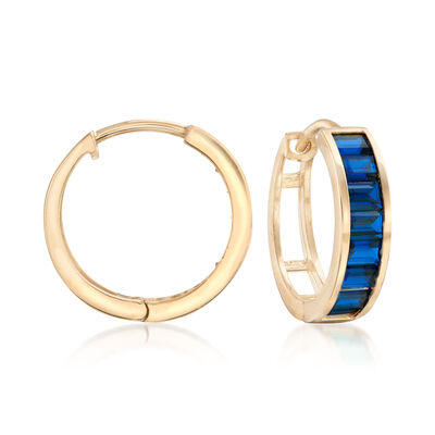 Baguette Simulated Sapphire Hoop Earrings in 14kt Yellow Gold, , default