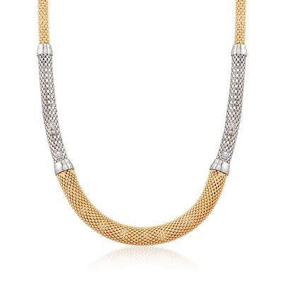 Italian Two-Tone Sterling Silver Graduated Necklace, , default