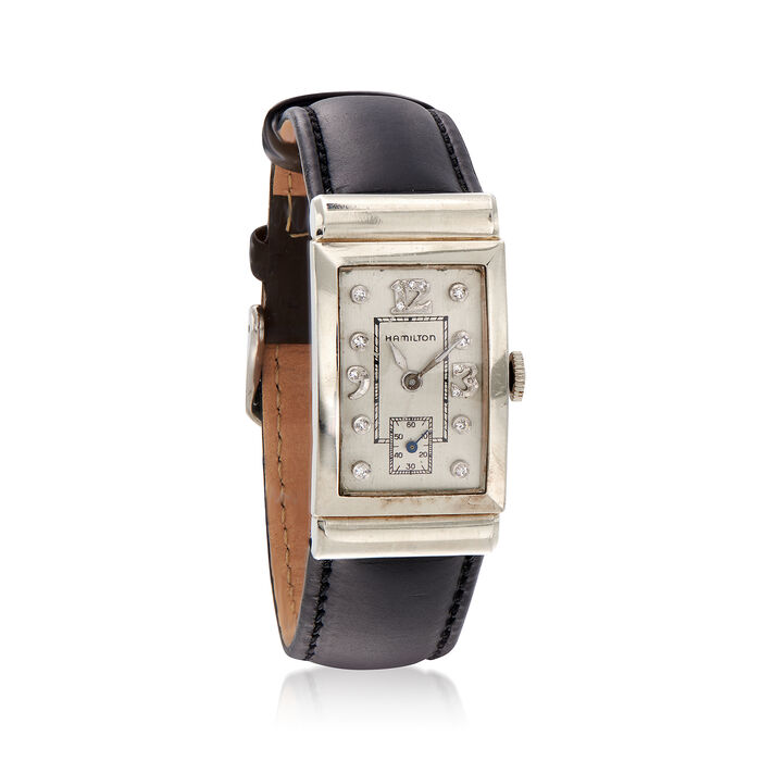 C. 1950 Vintage 21mm 14kt White Gold Hamilton Watch with .12 ct. t.w. Diamonds and Black Leather. Size 9, , default