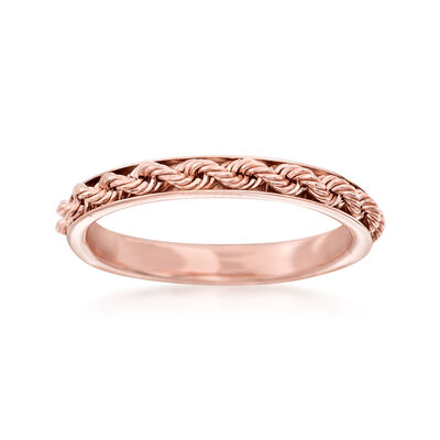 Italian 14kt Rose Gold Rope Design Ring, , default