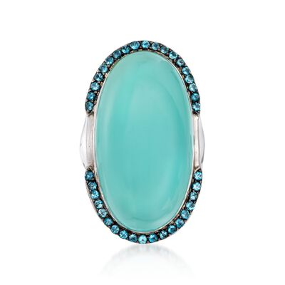 Blue Chalcedony and 1.10 ct. t.w. Blue Topaz Statement Ring in Sterling Silver, , default