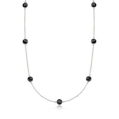 25.00 ct. t.w. Bezel-Set Black Spinel Station Necklace in Sterling, , default