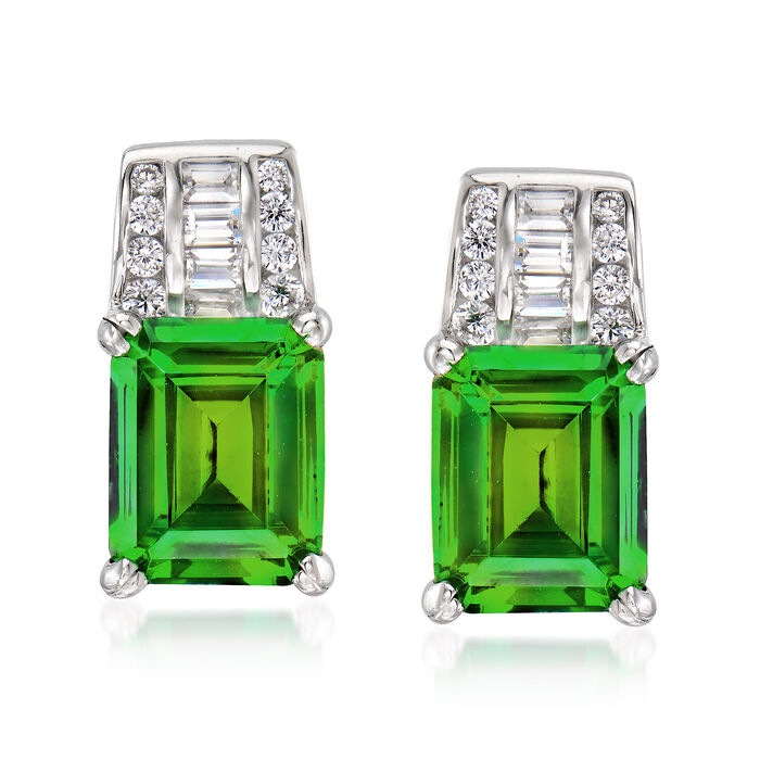 Simulated Emerald and .40 ct. t.w. CZ Earrings in Sterling Silver
