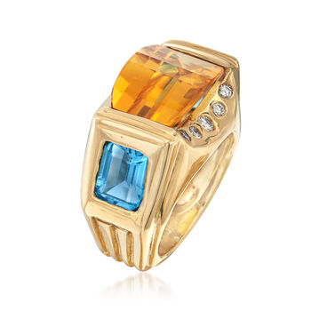 C. 1990 Vintage 7.90 Carat Citrine and 4.00 ct. t.w. Topaz with Diamond Accents in 18kt Gold. Size 6.5, , default