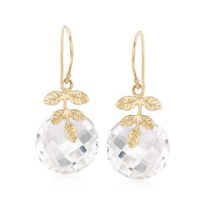 16mm Rock Crystal Drop Earrings in 14kt Yellow Gold, , default