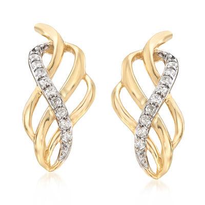 .11 ct. t.w. Diamond Twist Hoop Earrings in 14kt Yellow Gold, , default