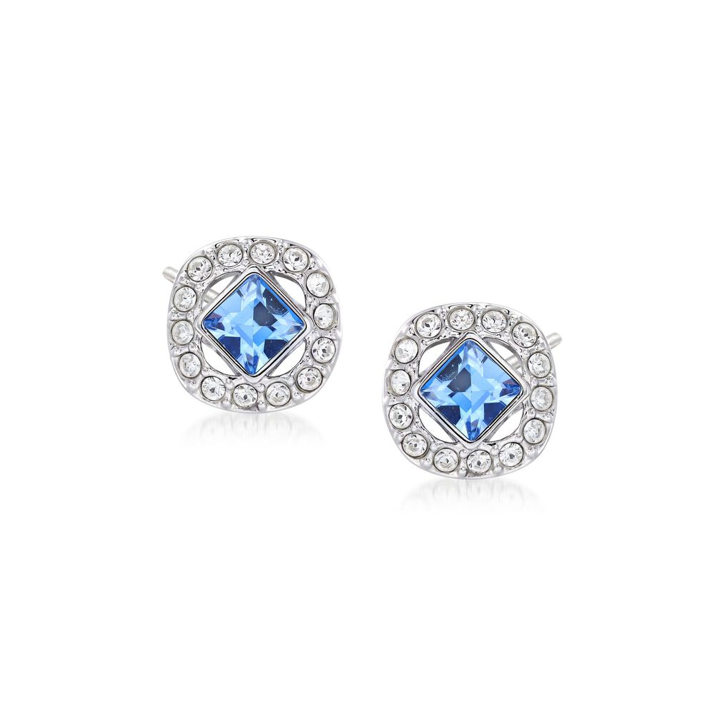"""800c06346 Swarovski Crystal """"Angelic"""" Blue and Clear Square Crystal Stud  Earrings in Silvertone ,"""