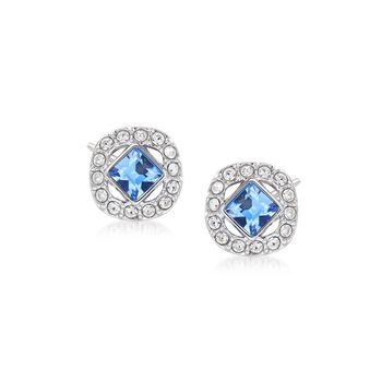 """Swarovski Crystal """"Angelic"""" Blue and Clear Square Crystal Stud Earrings in Silvertone , , default"""