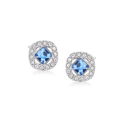 "Swarovski Crystal ""Angelic"" Blue and Clear Square Crystal Stud Earrings in Silvertone, , default"
