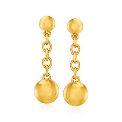 Italian Andiamo 14kt Yellow Gold Bead Drop Earrings