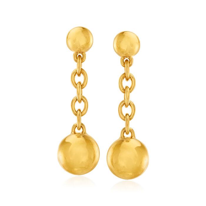 Italian Andiamo 14kt Yellow Gold Bead Drop Earrings
